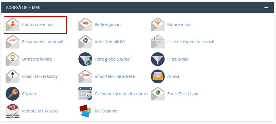 Conturi Email in cPanel
