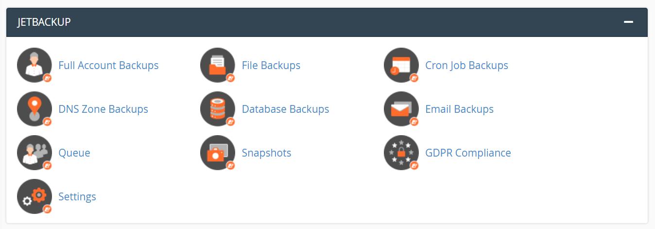 Sectiunea JetBackup cPanel